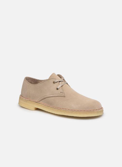 Chaussures à lacets Clarks Originals Desert Khan Beige vue détail/paire