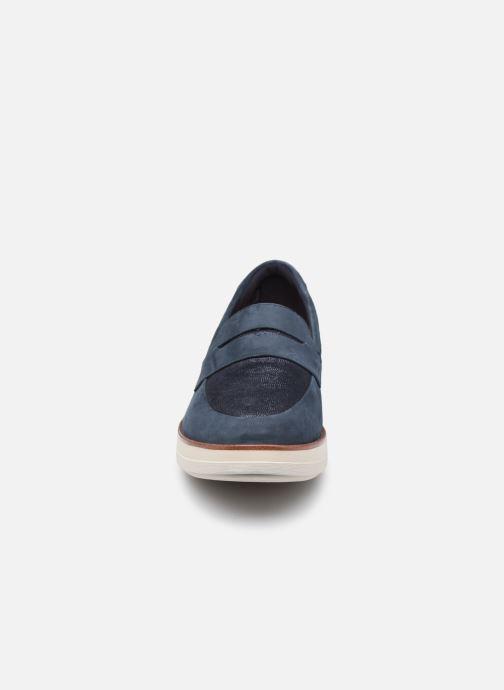 Slipper Clarks Unstructured Shaylin Step blau schuhe getragen