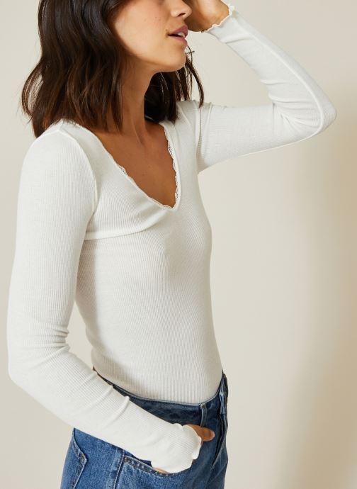 Vêtements Monoprix Femme T-shirt manches longues en coton détails en dentelle Blanc vue détail/paire