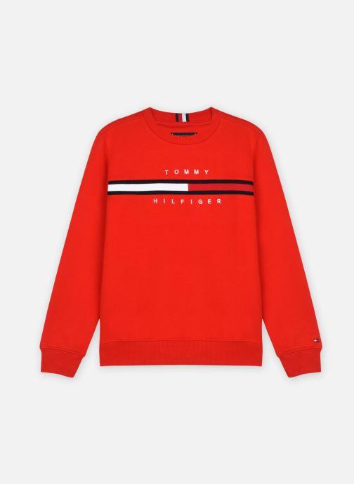 Vêtements Tommy Hilfiger Flag Rib Insert Sweat Rouge vue détail/paire