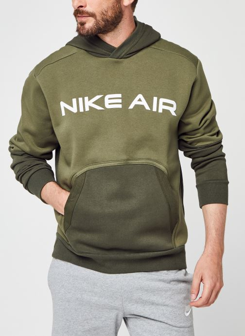 Ropa Nike M Nsw Nike Air Po Flc Hoodie Verde vista de detalle / par