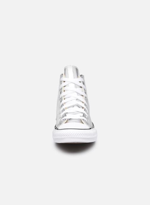 Sneaker Converse Chuck Taylor All Star Metallic Canvas Hi silber schuhe getragen