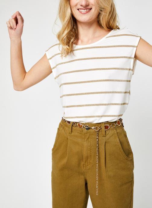 Vêtements Pieces Pcrammi Ss Tee Kac Fc Blanc vue détail/paire