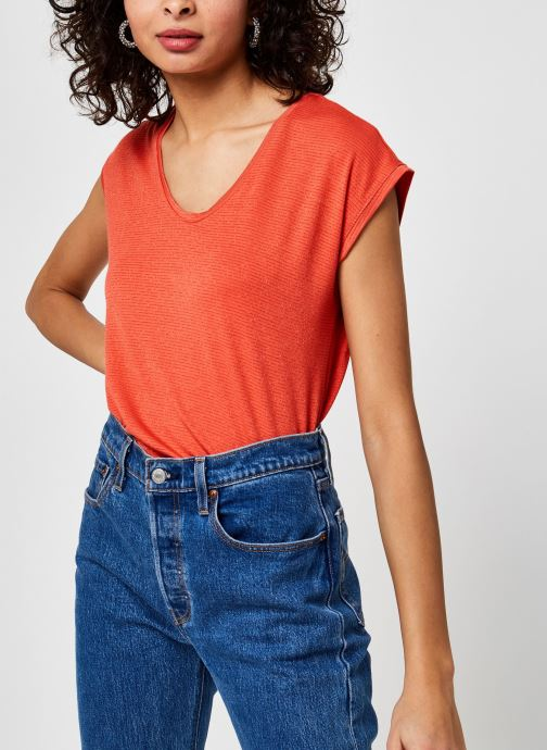 Vêtements Pieces Pcbillo Tee Lurex Stripes Orange vue détail/paire