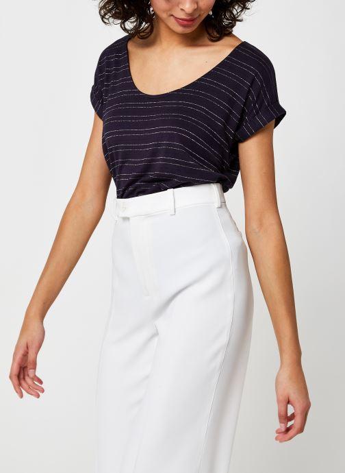 Vêtements Pieces Pcbillone Top Lurex Stripes Bleu vue détail/paire