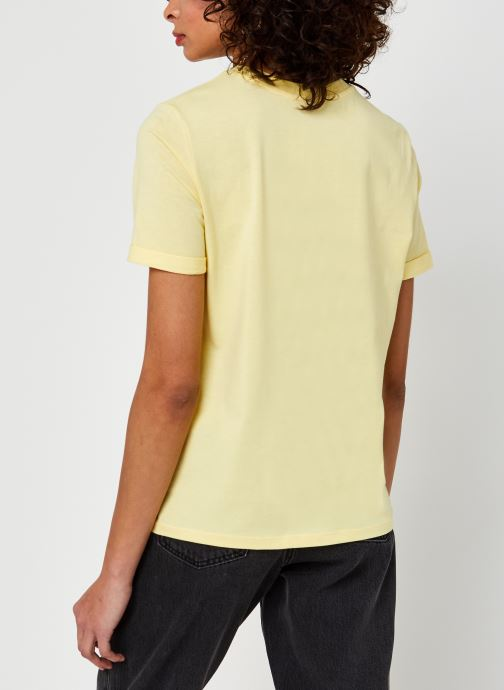 Kleding Pieces Pcria Fold Up Solid Tee Geel model