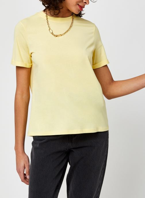 Kleding Pieces Pcria Fold Up Solid Tee Geel rechts