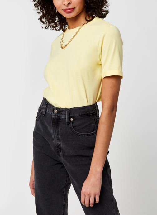 Kleding Pieces Pcria Fold Up Solid Tee Geel detail