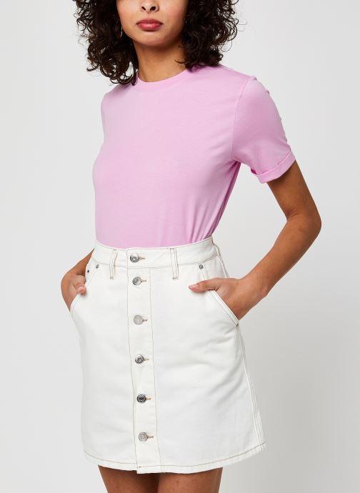 Vêtements Pieces Pcria Fold Up Solid Tee Rose vue détail/paire