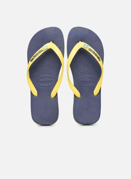 Tongs Havaianas HAV. BRASIL LAYERS Jaune vue portées chaussures