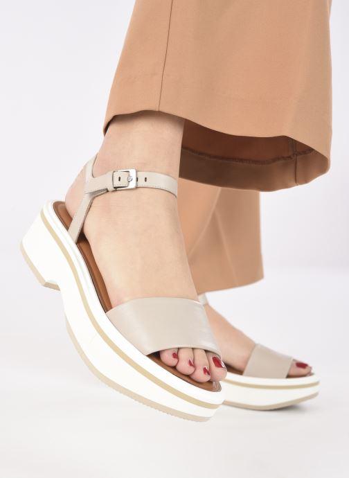 Sandales et nu-pieds Clergerie FIONA Gris vue bas / vue portée sac