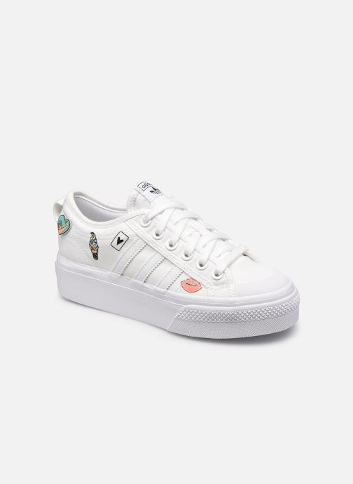 Baskets adidas originals Nizza Platform J Blanc vue détail/paire