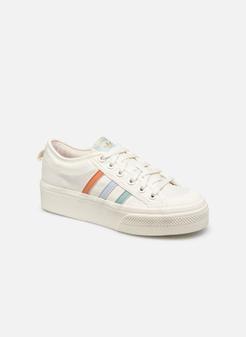 Baskets adidas originals Nizza Platform W Blanc vue détail/paire