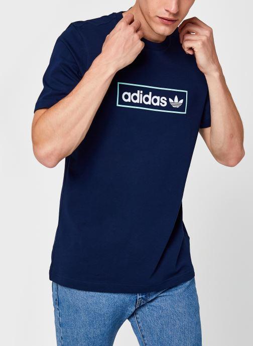 Kleding adidas originals Linear Logo Tee Blauw detail