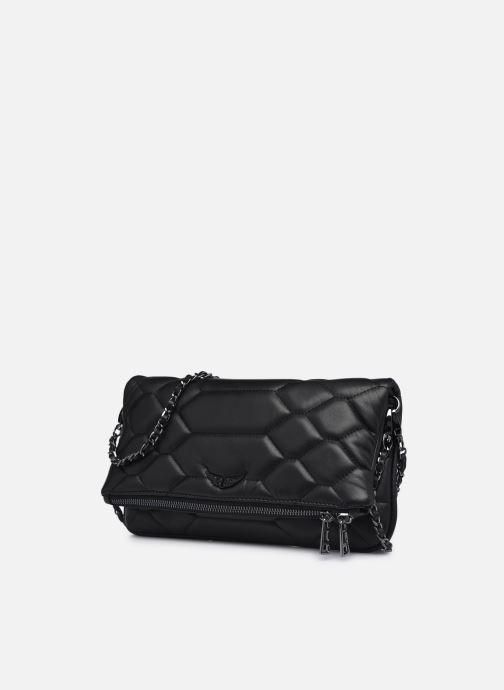 Sacs à main Zadig & Voltaire Rock XL Mat SCA Noir vue portées chaussures