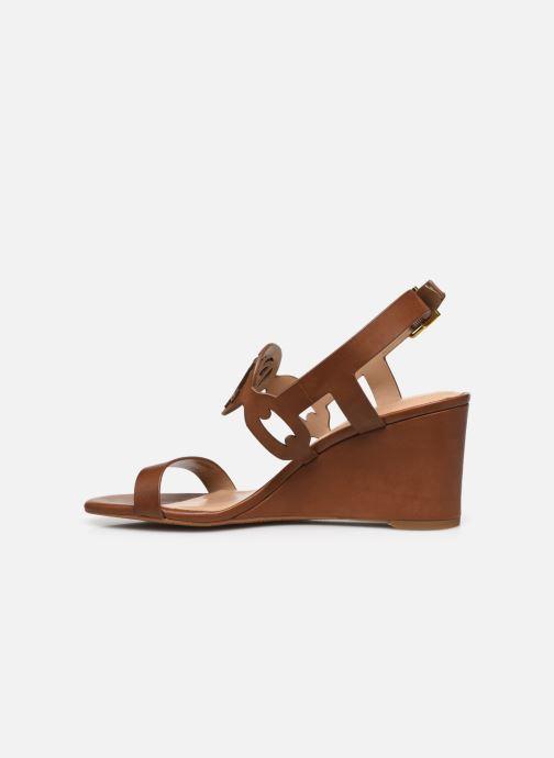 Sandali e scarpe aperte Lauren Ralph Lauren AMILEA-SANDALS-CASUAL WEDGE Marrone immagine frontale