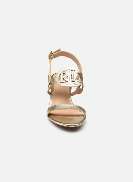 Sandali e scarpe aperte Lauren Ralph Lauren AMILEA-SANDALS-CASUAL WEDGE Oro e bronzo modello indossato