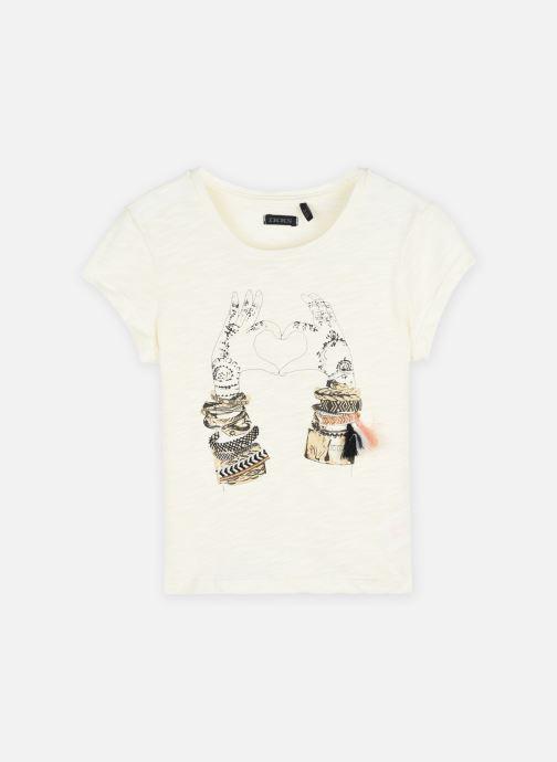 Vêtements IKKS JUNIOR  Tee-shirt flocage mains XS10002 Blanc vue détail/paire