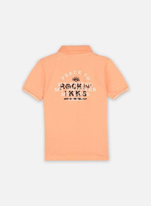 "Vêtements IKKS JUNIOR  Polo ""Rock In' Ikks"" XS11033 Orange vue portées chaussures"