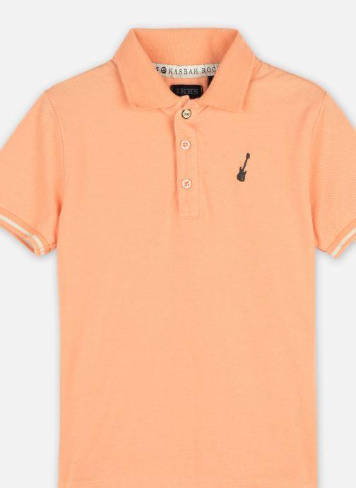 "Vêtements IKKS JUNIOR  Polo ""Rock In' Ikks"" XS11033 Orange vue face"