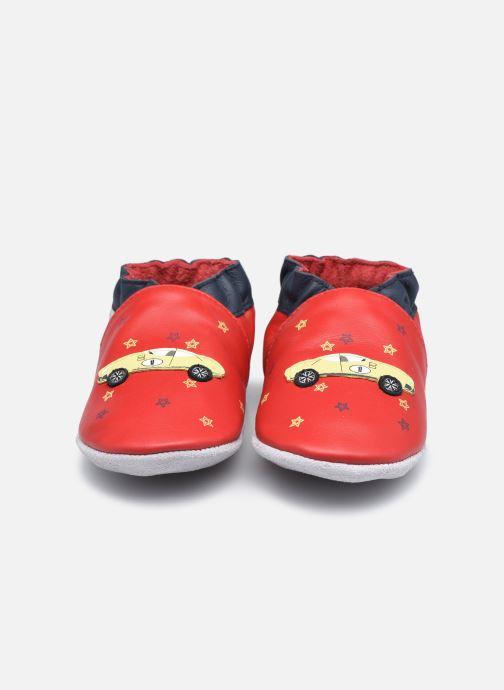 Hausschuhe Robeez Little Vroum rot schuhe getragen