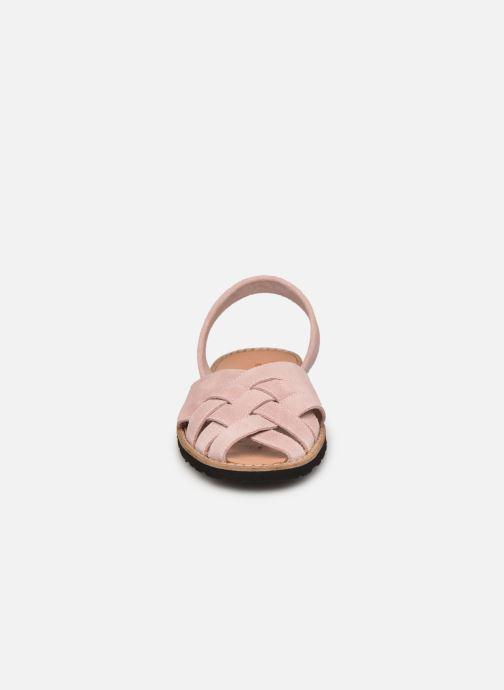 Sandalen Minorquines Avarca Compostelle Velours Rose / Avarca Compostella Velvet Pink rosa schuhe getragen