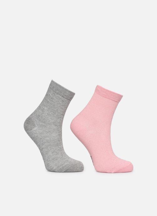 Calze e collant Dim KID Mi-Chaussettes Lurex Coton Style X2 Rosa modello indossato