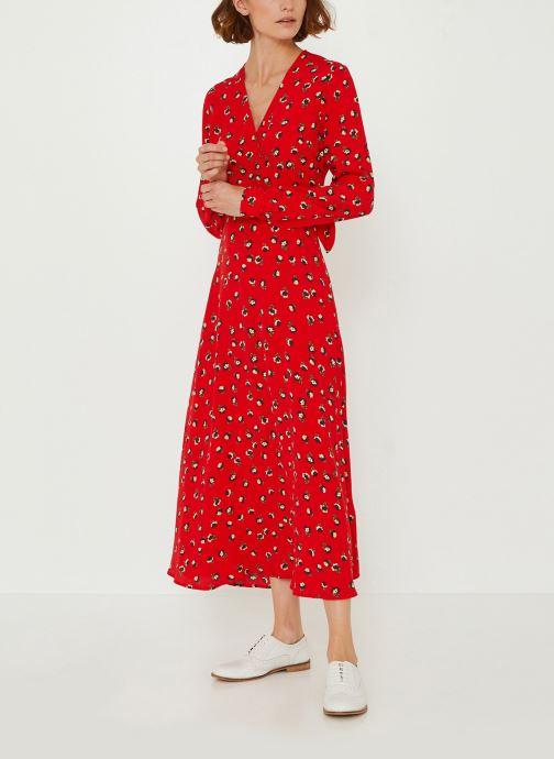 Vêtements Monoprix Femme Robe longue cache-coeur imprimé floral Rouge vue détail/paire