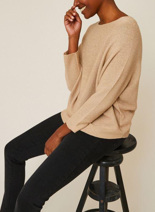 Vêtements Monoprix Femme Pull point mousse brillant Beige vue détail/paire