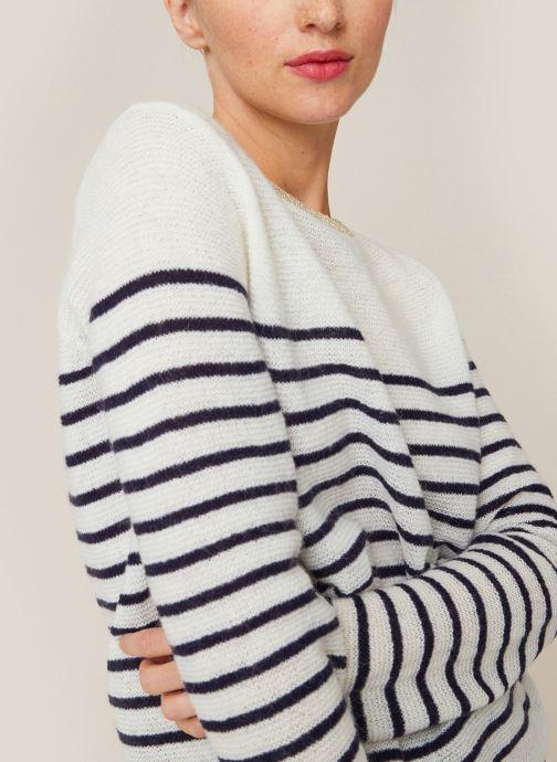 Vêtements Monoprix Femme Pull rayé en lurex Blanc vue détail/paire