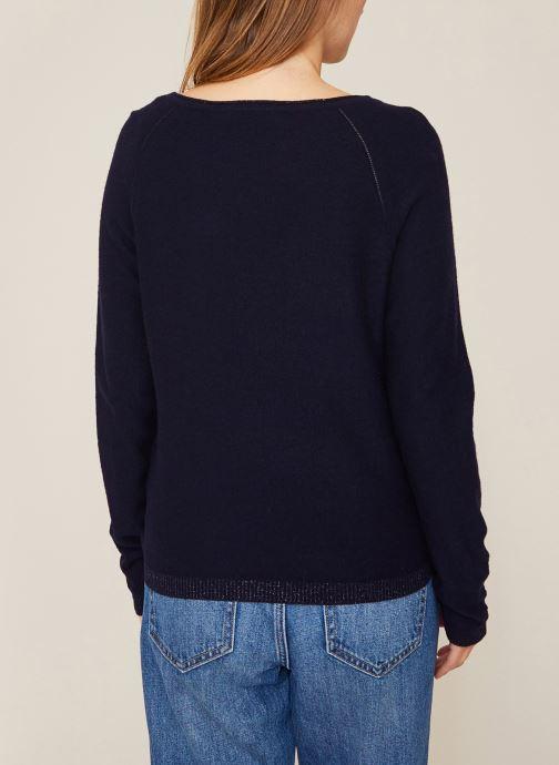 Vêtements Monoprix Femme Pull en lurex Bleu vue portées chaussures