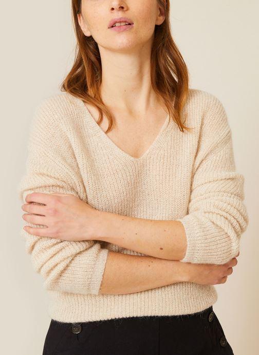 Vêtements Monoprix Femme Pull col V Beige vue détail/paire