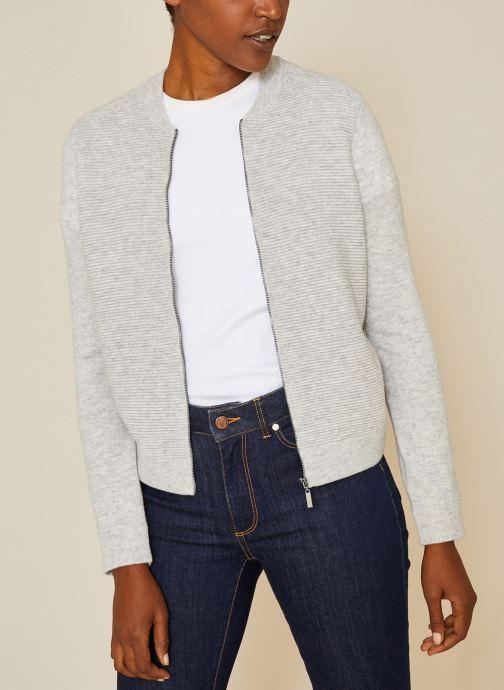 Vêtements Monoprix Femme Cardigan laine et cachemire Gris vue détail/paire