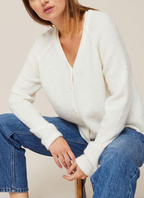 Vêtements Monoprix Femme Gilet en alpaga Blanc vue détail/paire