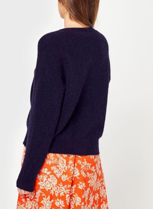 Vêtements Monoprix Femme Gilet contenant de l'alpaga Bleu vue portées chaussures