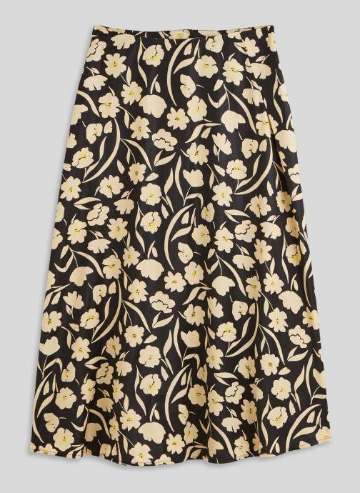 Vêtements Monoprix Femme Jupe midi imprimée effet satiné Noir vue face