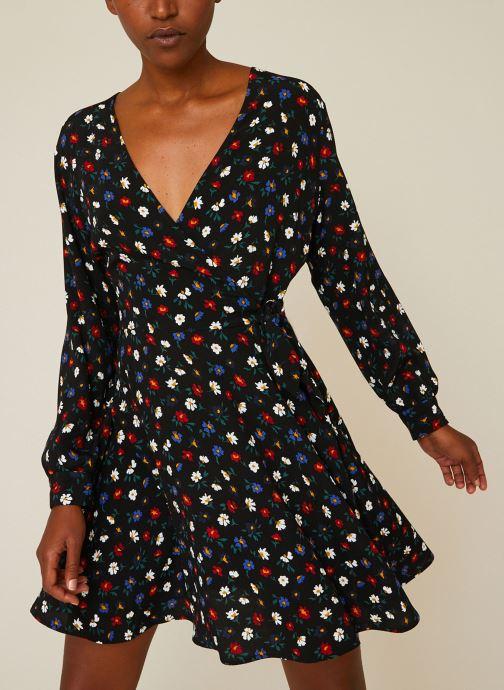 Vêtements Monoprix Femme Robe courte cache-coeur imprimé floral Noir vue détail/paire