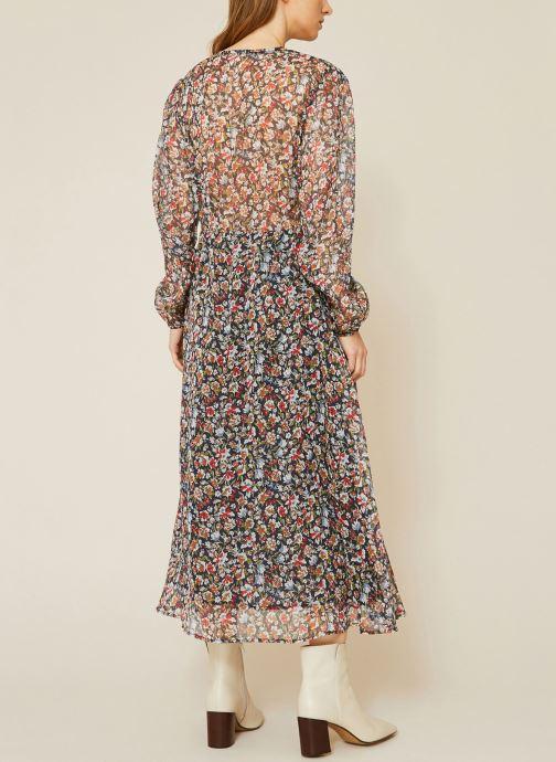 Vêtements Monoprix Femme Robe fluide col V imprimé floral Bleu vue portées chaussures