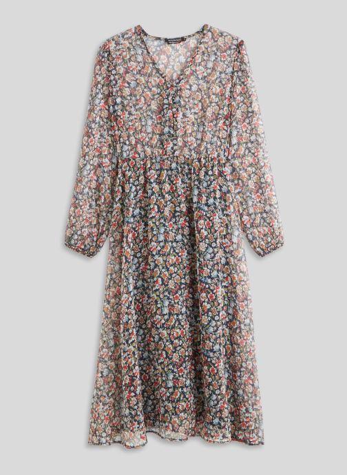 Vêtements Monoprix Femme Robe fluide col V imprimé floral Bleu vue face
