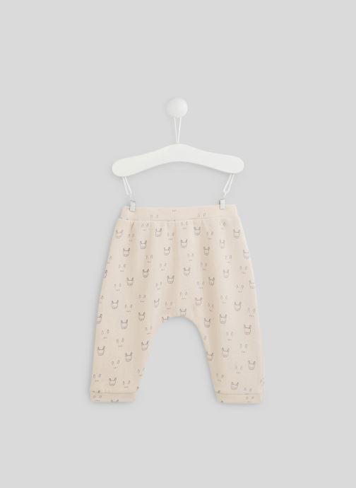 Vêtements Bout'Chou Sarouel molleton imprimé contenant du coton BIO Rose vue portées chaussures