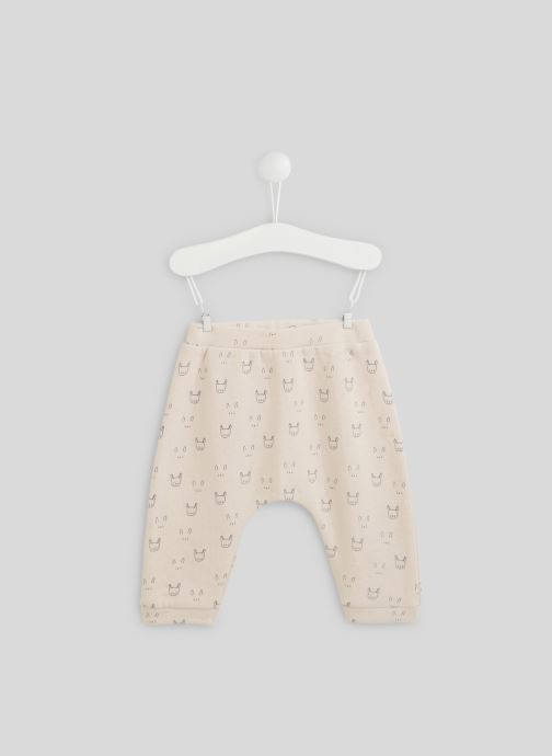 Vêtements Bout'Chou Sarouel molleton imprimé contenant du coton BIO Rose vue détail/paire