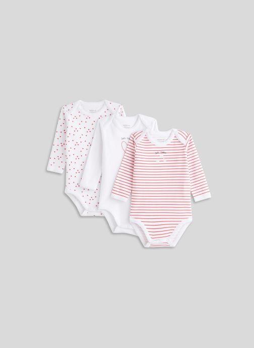 Vêtements Bout'Chou Lot de 3 bodies manches longues imprimés Blanc vue détail/paire