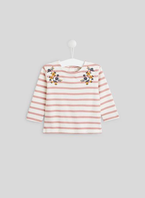 Vêtements Bout'Chou Marinière brodée en coton BIO Rose vue détail/paire
