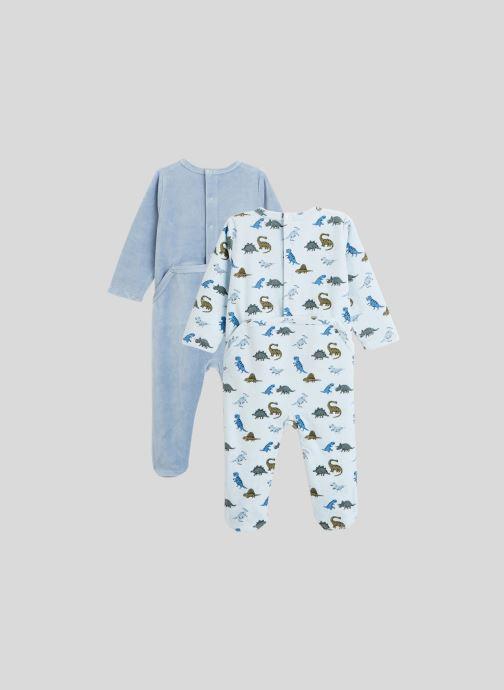 Vêtements Bout'Chou Lot de 2 pyjamas imprimés en velours contenant du coton BIO Bleu vue portées chaussures