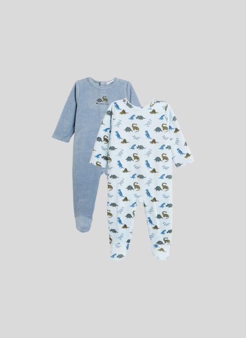 Vêtements Bout'Chou Lot de 2 pyjamas imprimés en velours contenant du coton BIO Bleu vue détail/paire