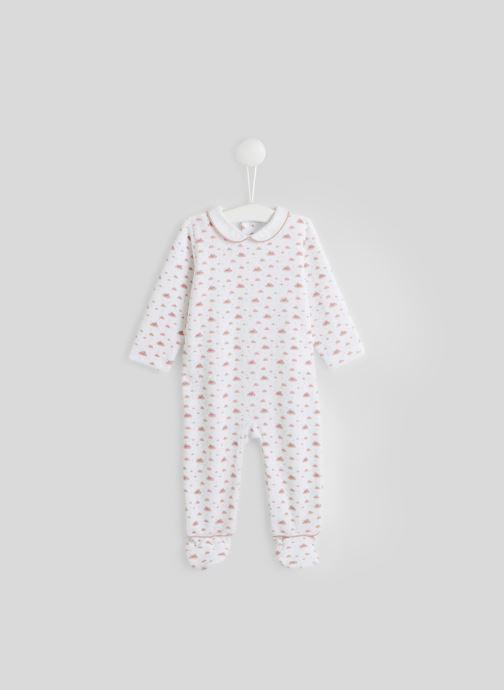 Vêtements Bout'Chou Dors-bien en velours imprimé contenant du coton BIO Rose vue détail/paire