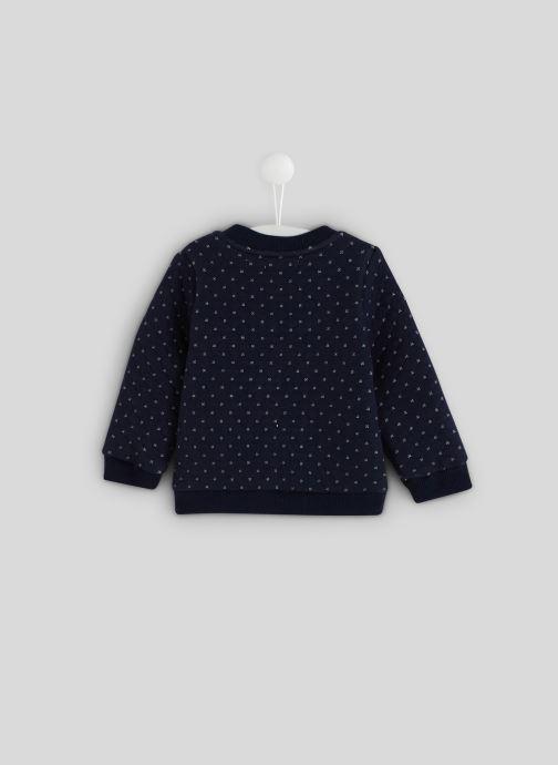 Vêtements Bout'Chou Cardigan molleton en coton BIO Bleu vue portées chaussures