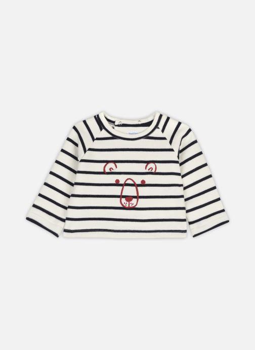 Vêtements Bout'Chou Sweat brodé à rayures en coton BIO Beige vue détail/paire