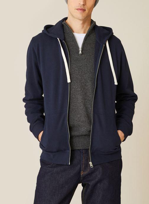 Vêtements Monoprix Homme Sweat à capuche en coton BIO Bleu vue détail/paire