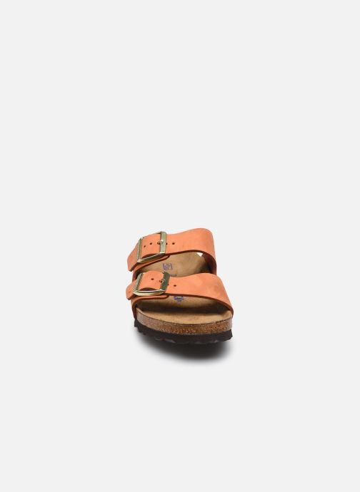 Sandalen Birkenstock Arizona Cuir Nubuck Soft Footbed W orange schuhe getragen